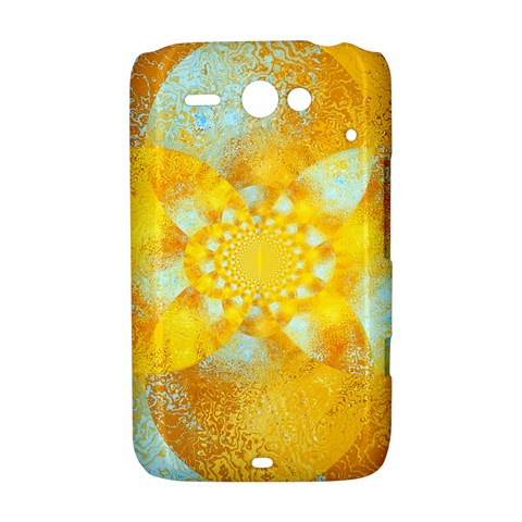 Gold Blue Abstract Blossom HTC ChaCha / HTC Status Hardshell Case