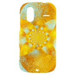 Gold Blue Abstract Blossom HTC Amaze 4G Hardshell Case
