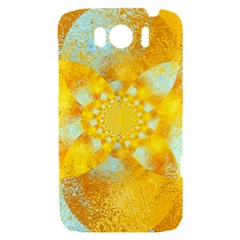 Gold Blue Abstract Blossom HTC Sensation XL Hardshell Case