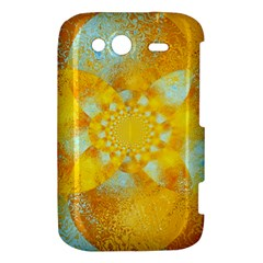 Gold Blue Abstract Blossom HTC Wildfire S A510e Hardshell Case