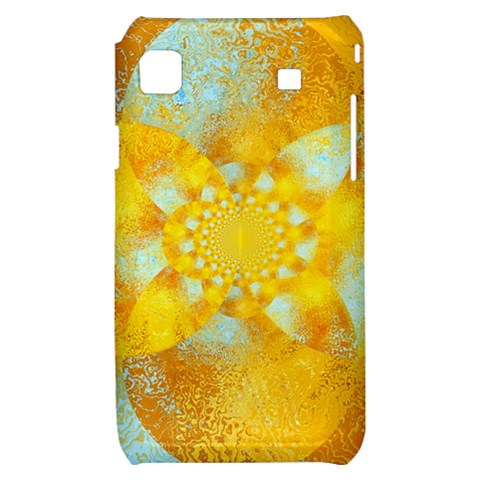 Gold Blue Abstract Blossom Samsung Galaxy S i9000 Hardshell Case