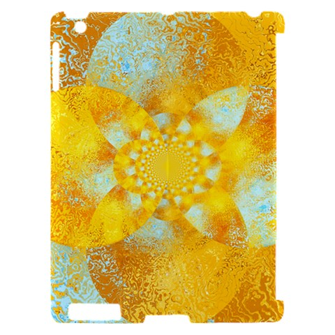 Gold Blue Abstract Blossom Apple iPad 2 Hardshell Case (Compatible with Smart Cover)