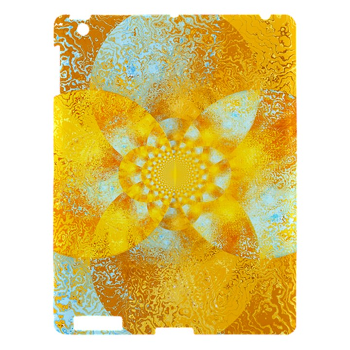 Gold Blue Abstract Blossom Apple iPad 3/4 Hardshell Case