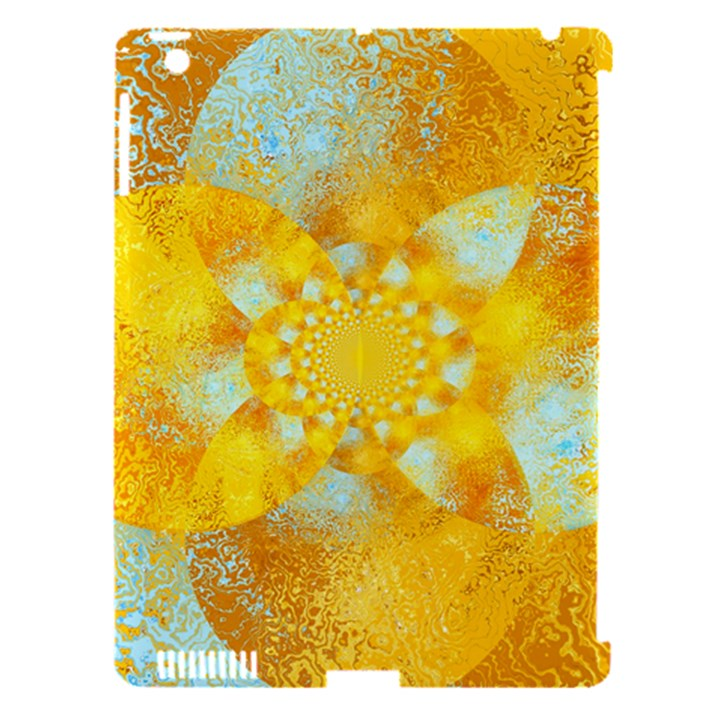 Gold Blue Abstract Blossom Apple iPad 3/4 Hardshell Case (Compatible with Smart Cover)