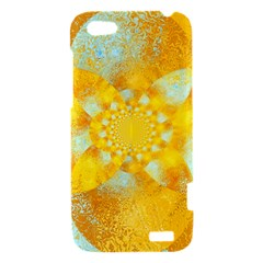 Gold Blue Abstract Blossom HTC One V Hardshell Case
