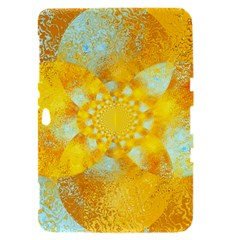 Gold Blue Abstract Blossom Samsung Galaxy Tab 8.9  P7300 Hardshell Case