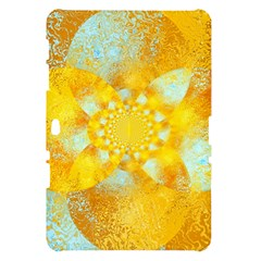 Gold Blue Abstract Blossom Samsung Galaxy Tab 10.1  P7500 Hardshell Case