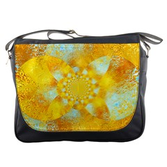 Gold Blue Abstract Blossom Messenger Bags