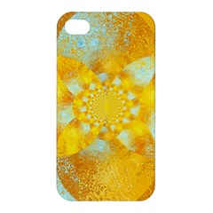 Gold Blue Abstract Blossom Apple Iphone 4/4s Premium Hardshell Case