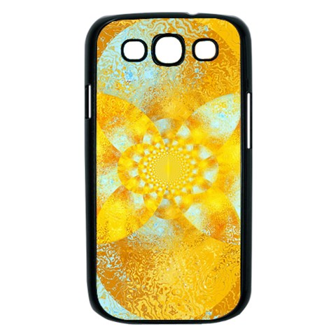 Gold Blue Abstract Blossom Samsung Galaxy S III Case (Black)