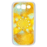 Gold Blue Abstract Blossom Samsung Galaxy S III Case (White) Front