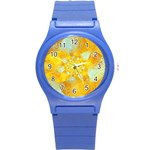 Gold Blue Abstract Blossom Round Plastic Sport Watch (S) Front