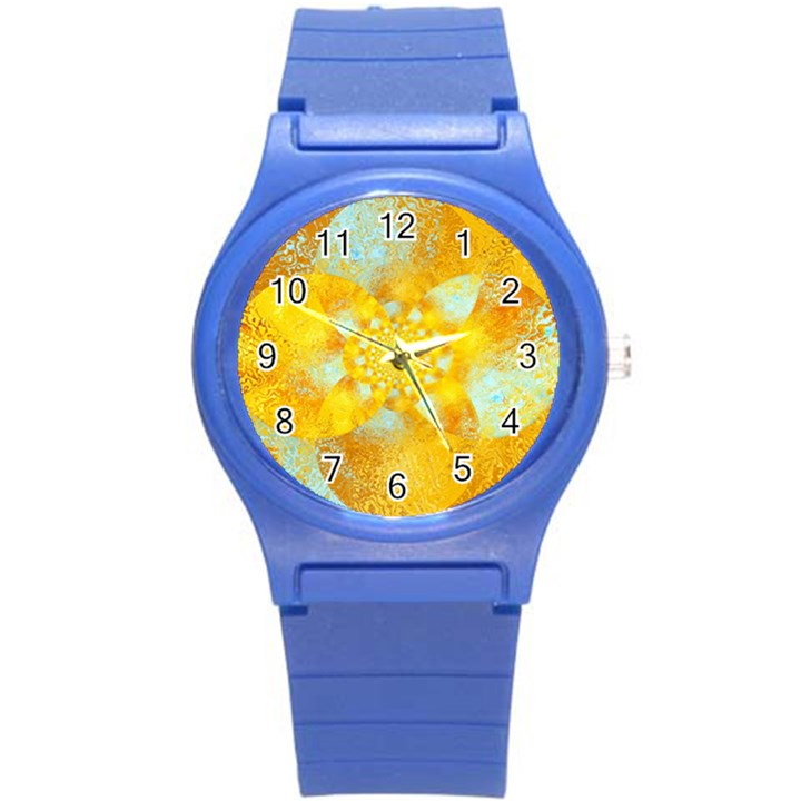 Gold Blue Abstract Blossom Round Plastic Sport Watch (S)