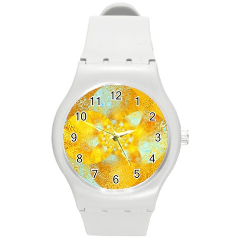 Gold Blue Abstract Blossom Round Plastic Sport Watch (M)