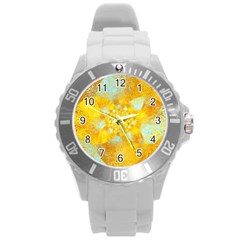 Gold Blue Abstract Blossom Round Plastic Sport Watch (L)