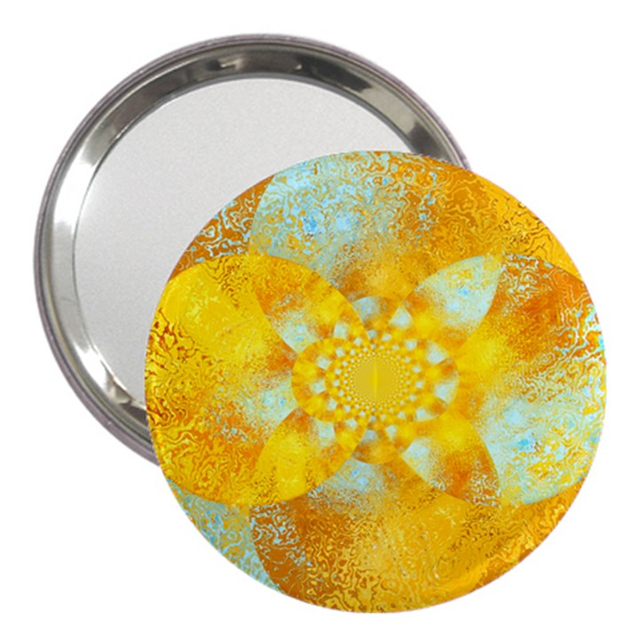 Gold Blue Abstract Blossom 3  Handbag Mirrors