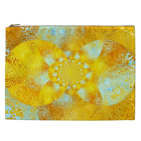 Gold Blue Abstract Blossom Cosmetic Bag (XXL)
