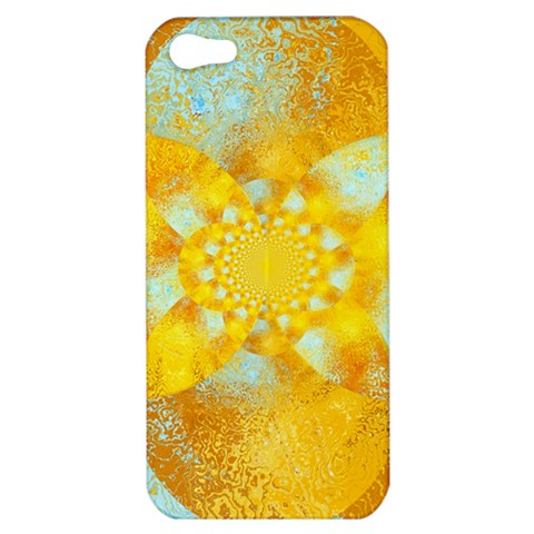 Gold Blue Abstract Blossom Apple iPhone 5 Hardshell Case