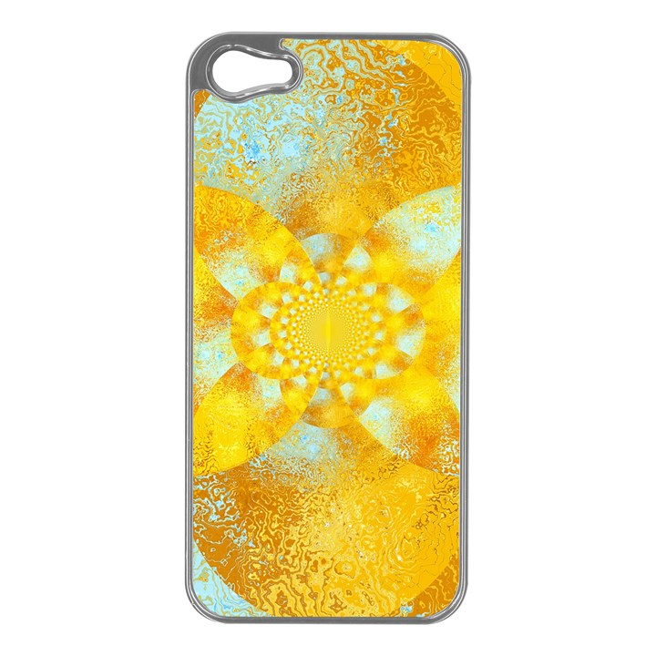 Gold Blue Abstract Blossom Apple iPhone 5 Case (Silver)
