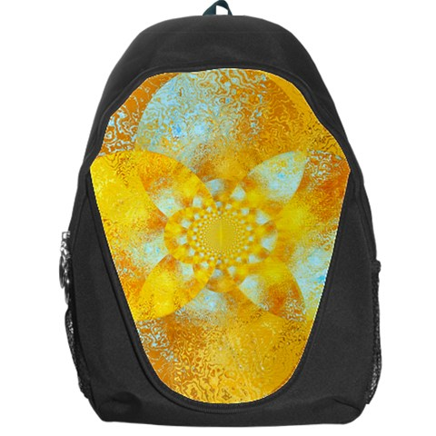 Gold Blue Abstract Blossom Backpack Bag