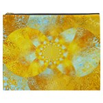 Gold Blue Abstract Blossom Cosmetic Bag (XXXL)  Front