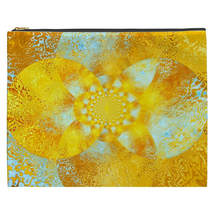 Gold Blue Abstract Blossom Cosmetic Bag (XXXL)