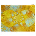 Gold Blue Abstract Blossom Cosmetic Bag (XXXL)  Back