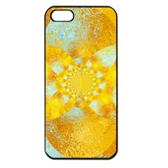 Gold Blue Abstract Blossom Apple Iphone 5 Seamless Case (black)