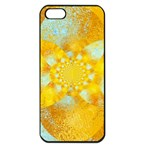 Gold Blue Abstract Blossom Apple iPhone 5 Seamless Case (Black) Front