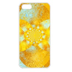 Gold Blue Abstract Blossom Apple iPhone 5 Seamless Case (White)