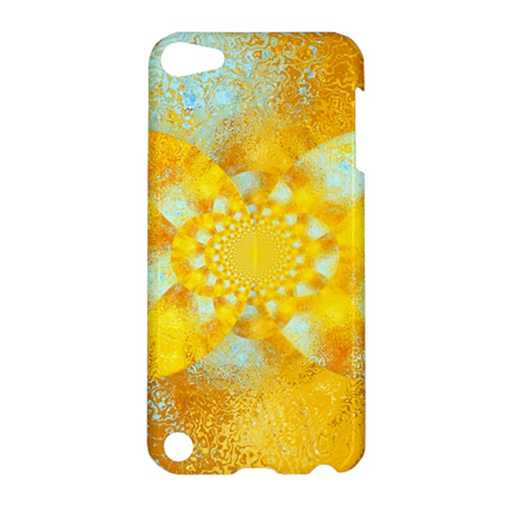 Gold Blue Abstract Blossom Apple iPod Touch 5 Hardshell Case