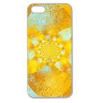 Gold Blue Abstract Blossom Apple Seamless iPhone 5 Case (Clear) Front