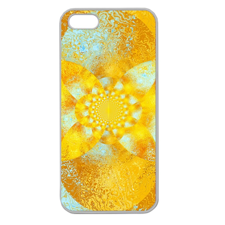 Gold Blue Abstract Blossom Apple Seamless iPhone 5 Case (Clear)