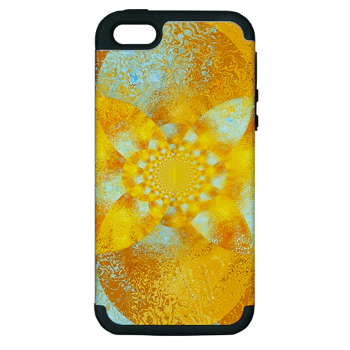 Gold Blue Abstract Blossom Apple iPhone 5 Hardshell Case (PC+Silicone)