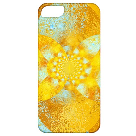 Gold Blue Abstract Blossom Apple iPhone 5 Classic Hardshell Case