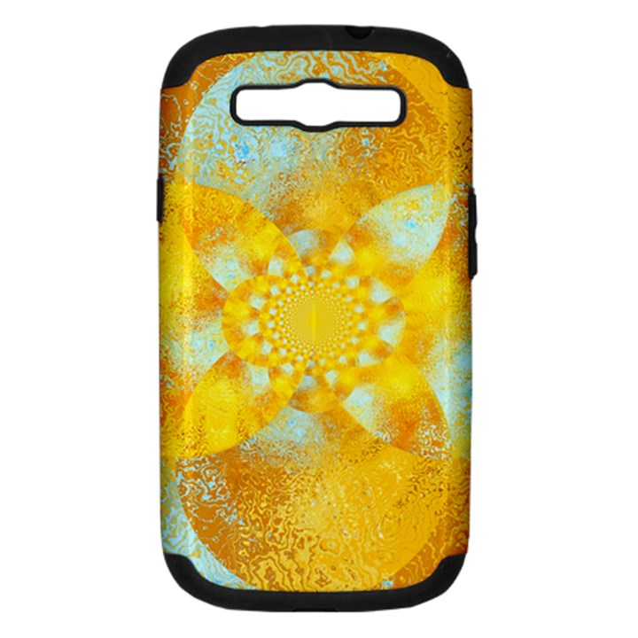 Gold Blue Abstract Blossom Samsung Galaxy S III Hardshell Case (PC+Silicone)