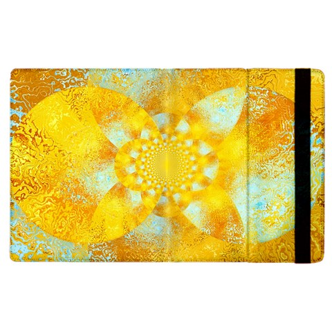 Gold Blue Abstract Blossom Apple iPad 2 Flip Case