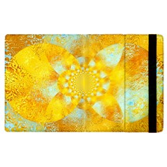 Gold Blue Abstract Blossom Apple Ipad 3/4 Flip Case
