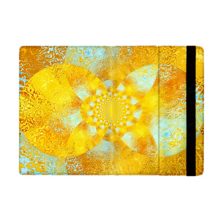 Gold Blue Abstract Blossom Apple iPad Mini Flip Case