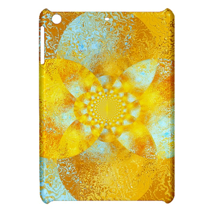 Gold Blue Abstract Blossom Apple iPad Mini Hardshell Case