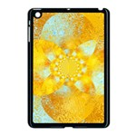 Gold Blue Abstract Blossom Apple iPad Mini Case (Black) Front