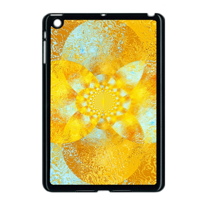 Gold Blue Abstract Blossom Apple iPad Mini Case (Black)