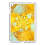 Gold Blue Abstract Blossom Apple iPad Mini Case (White) Front