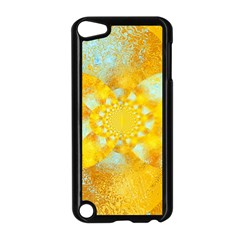 Gold Blue Abstract Blossom Apple iPod Touch 5 Case (Black)