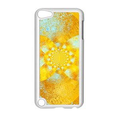 Gold Blue Abstract Blossom Apple iPod Touch 5 Case (White)