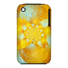 Gold Blue Abstract Blossom Apple Iphone 3g/3gs Hardshell Case (pc+silicone)