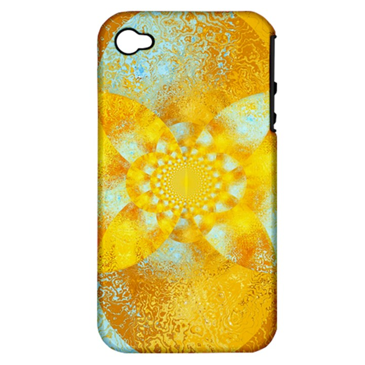 Gold Blue Abstract Blossom Apple iPhone 4/4S Hardshell Case (PC+Silicone)