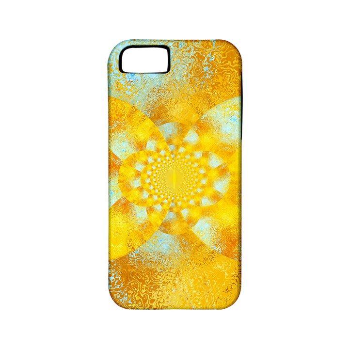 Gold Blue Abstract Blossom Apple iPhone 5 Classic Hardshell Case (PC+Silicone)