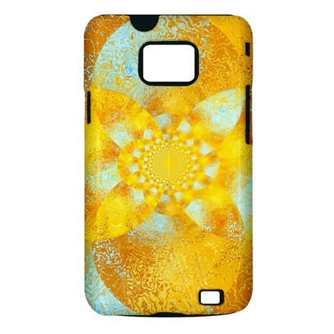 Gold Blue Abstract Blossom Samsung Galaxy S II i9100 Hardshell Case (PC+Silicone)