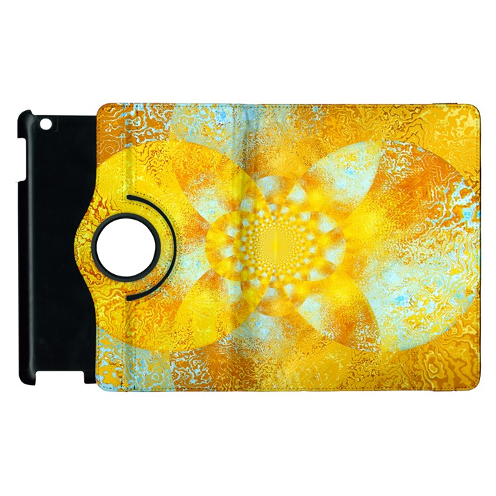 Gold Blue Abstract Blossom Apple iPad 2 Flip 360 Case